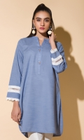 Khaddar Kurta With Lace Full Sleeves Fancy Buttons