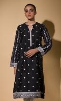 Black Embroidered Kurta Full Sleeves Lace Finishing