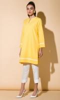 Yellow Cambric Kurta Full Sleeves Lace Finishing