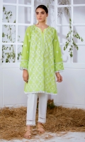 Lime Green Chikankari Kurta Full Sleeves Lace Finishing