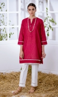 Red Jacquard Kurta Full Sleeves  Lace Finishing