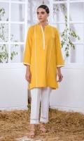 Yellow Khaddar Kurta Full Sleeves  Lace Finishing