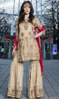 -FRONT EMBROIDERED CHIFFON WITH HANDWORK -BACK EMBROIDERED CHIFFON WITH HANDWORK -SLEEVES EMBROIDERED CHIFFON WITH HANDWORK -DUPATTA EMBROIDERED CHIFFON WITH SWAROVSKI -SHARARA EMBROIDERED NET -INNER COTTON SILK -TROUSER RAW SILK AND ACCESSORIES