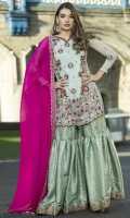 -FRONT EMBROIDERED CHIFFON WITH HANDWORK -BACK EMBROIDERED CHIFFON WITH HANDWORK -SLEEVES EMBROIDERED CHIFFON WITH HANDWORK -DUPATTA EMBROIDERED CHIFFON WITH SWAROVSKI -INNER COTTON SILK -SHARARA JAMAWAR AND ACCESSORIES