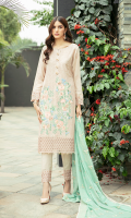 Stitched Embroidered chiffon front & back with embroidered organza border.  Embroidered chiffon dupatta.  Dyed raw silk stitched trousers with organza border.