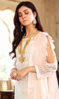 Embroidered chiffon for front: 1 yard  Embroidered chiffon for back: 1 yard  Embroidered organza border for front & back: 2 yards  Embroidered chiffon for sleeves: 0.75 yard  Embroidered chiffon for dupatta: 2.75 yards  Jacquard for trousers: