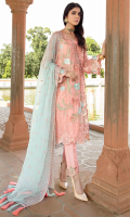 Embroidered chiffon for front: 1 yard  Embroidered organza border for front: 1.25 yards  Embroidered organza border for main border: 1 yard  Embroidered chiffon for back: 1 yard  Embroidered organza border for back: 1 yard  Embroidered chiffon for sleeves: 0.75 yard  Embroidered organza border for sleeves: 1 yard  Embroidered chiffon for dupatta: 2.75 yards  Dyed raw silk for trousers: 2.50 yards  Embroidered organza border for trousers: 1 yard