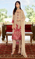 Embroidered chiffon for front: 1 yard  Embroidered organza border for front: 1 yard  Embroidered chiffon for back: 1 yard  Embroidered organza border for back & sleeves: 2 yards  Embroidered chiffon for sleeves: 0.75 yard  Embroidered chiffon for dupatta: 2.75 yards  Dyed raw silk for trousers: 2.50 yards  Embroidered organza border for trousers: 1 yard