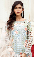 Embroidered cutwork organza for front: 1 yard  Handmade embellishment for front neck patch: 1 pc  Embroidered organza for back: 1 yard  Embroidered net for front & back borders: 2 yards  Embroidered cutwork organza for sleeves: 0.75 yard  Embroidered net border for sleeves: 1 yard  Embroidered net for dupatta: 2.75 yards  Embroidered raw silk for trousers: 2.50 yards
