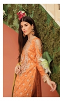 Embroidered jacquard for front: 1 yard  Embroidered organza for front neck patch: 1 pc  Dyed jacquard for back: 1 yard  Embroidered organza border for front & back: 2 pcs  Embroidered organza border for front & back: 2 yards  Embroidered jacquard for sleeves: 0.75 yards  Embroidered organza border for sleeves: 1 yard  Embroidered jacquard for dupatta:  Dyed raw silk for trousers: 2.50 yards