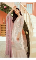 Embroidered net for front: 1 yard  Embroidered organza border for front: 1 yard  Embroidered net for back: 1 yard  Embroidered organza border for back: 1 yard  Embroidered net for sleeves: 0.75 yard  Embroidered organza border for sleeves: 1 yard  Embroidered chiffon for dupatta: 2.75 yards  Dyed raw silk for trousers: 2.50 yards
