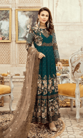 Embroidered chiffon for front & back yoke: 0.75 yard  Embroidered chiffon for front and back panels: 10pcs  Embroidered chiffon for sleeves: 0.75 yard  Embroidered net for dupatta: 2.75 yards  Raw silk for trousers: 2.50 yards