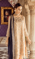 Embroidered Missouri for front: 1 pcs  Embroidered organza border for front: 1 yard  Embroidered Missouri for back: 1 pcs  Embroidered organza border for back: 1 yard  Embroidered Missouri for sleeves: 0.75 yard  Embroidered chiffon for dupatta: 2.75 yards  Raw silk for trousers: 2.50 yards  Embroidered organza border for trouser: 2 yards