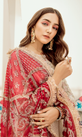 Embroidered chiffon jaal for front & back: 3 yards  EmbroideredOrganza with handmade embellishment for front neck: 1 pc  Embroidered organza border for front & back: 2.50 yards  Embroidered chiffon for sleeves: 0.75 yard  Embroidered chiffon for dupatta:  Dyed raw silk for trousers: 2.50 yards