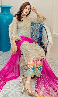 Embroidered chiffon with handmade embellishment for front: 1 yard  Embroidered organza border for front: 1 yard  Dyed plain chiffon for back: 1yard  Embroidered organza border for back: 1 yard  Embroidered chiffon with handmade embellishment for sleeves: 0.75 yard  Embroidered organza border for sleeves: 1 yard  Embroidered chiffon with colorful patch for dupatta:   Embroidered raw silk with colorful patch for trousers: