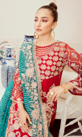 Embroidered chiffon for front: 1 yard  Embroidered chiffon for front neck patch: 1pc  Embroidered organza border for front: 1 yard  Embroidered chiffon for back: 1 yard  Embroidered organza border for back: 1 yard  Embroidered chiffon for sleeves: 0.75 yard  Embroidered chiffon for dupatta:  Jamawar for trousers: