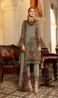 Embroidered chiffon with 3D flowers for front: 1 yard  Embroidered organza border for front & sleeves: 2 yards  Embroidered chiffon for with 3D flowers for back: 1 yard  Embroidered organza border for back: 1 yard  Embroidered chiffon for sleeves: 0.75 yard  Embroidered chiffon for dupatta:  Dyed zarri jacquard for trousers: 2.50 yards  Embroidered organza border for trousers: 1 yard