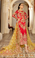 Embroidered chiffon for front:  Embroidered organza border for front: 1 yard  Dyed plain chiffon for back:  Embroidered organza border for back: 1 yard  Embroidered chiffon for sleeves: 0.75 yard  Embroidered organza border for sleeves: 1 yard  Embroidered net for dupatta:  Dyed jamawar for trousers: 250 yards
