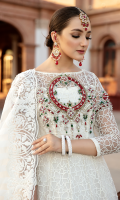 Embroidered net with handmade embellishments for front yoke: 1 pc  Embroidered net with 3D flowers for front: 1.50 yards  Embroidered net with handmade embellishments for back yoke: 1 pc  Embroidered net for back: 1.50 yards  Embroidered net for sleeves: 0.75 yard  Embroidered organza motifs with handmade embellishments for sleeves: 2pcs  Embroidered stripes jacquard organza for dupatta: