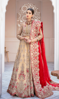 Embroidered net with handmade embellishments for front & back yoke:  Embroidered net with handmade embellishments for front & back panels: 10pcs  Embroidered net with handmade embellishments for sleeves: 0.75 yard  Embroidered net with stones embellishment for dupatta: 2.75 yards
