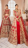Embroidered net with handmade embellishments for front & back yoke:  Embroidered organza for back drop tassels: 4pcs    Embroidered net panels for lengha: 10 pcs  Embroidered net with stones embellishments border for lengha: 4.25 yards  Embroidered net for sleeves: 0.75 yard  Embroidered net with stones embellishments for dupatta: 2.75 yards  Embroidered organza with stones embellishments 1inches border for front open maxi: 3.25 yards