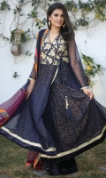 A beautiful angarkha with heavy embellishment on the yoke, screen-printed lining & velvet and lace finishings. Velvet Pants and dupatta included.