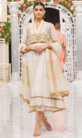 White chiffon peshwas with panels, embroidered karandi inserts, and gold finishings. Simple and elegant. Pants included.