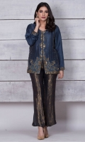 Pure raw silk jacket with sequins and cut dana work on the front. Dress it with black and gold jamawar boot cut trousers. Price includes trouser as shown in the picture.