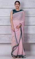 Pure georgette sari heavily worked in kundan and kora dabka; blouse is inclusive.