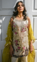 Dull gold top hand worked front in a beautiful floral embroidery with appliquéd net in the centre. Daman appliquéd in velvet with sequence and dabka work both front and back.