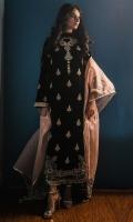 Black velvet kurta, with a jewel necklace around the neckline front of the kurta has motif embellished in kora, dabka, pale pink resham. Daman corner embroidered intricately for a beautiful finish.