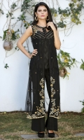Black sleeveless net jacket with delicate machine embroidery and hand embellishment. Black silk slip included.