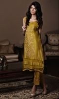 Herbal Tea color karandi kurta with applique embroidery on the front, boat neck detailed in stones and pearls and daman finished with organza pati.