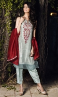 Organza shirt with screen printing lining. Hand embriodered neck pati and bodice. Daman finished with organza pati.