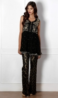 A pure chiffon peplum style top with dubka work on the front and sequins chan.