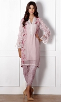 A pure organza kurta intricately embroidered, neck pati detailed with crochet lace and pearls and sequins and bubble sleeves.