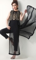 Bold and elegant black chiffon long top with handwork details on the bodice. A perfect dinner wear.