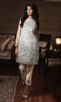 Applique shirt in net fabric, in resham and gold zari.  Complementary plain cotton pants and dupatta