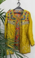 Pure raw silk jacket with printed pure silk lining.  Heavy hand embellished in resham gutta and sequins.  includes complementary silk top and pants with colour of choice.  'Printed inner may be different depending on the availibility'