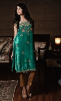 Pure velvet green shirt with net bodice worked in sequins, beads and Swarovski stone on the front and daman.  Includes complementary pure silk pants and chiffon duppatta