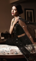 With plain raw silk blouse;net worked Sari with organza and tassel detailing on the paloo. Includes silk Pati coat.