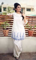 Organza Shirt with intricately hand work in resham gotta and mirror on daman finished with pearls  Back has tassel detailing  Lapis blue stole included