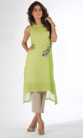 Apple green pleated chiffon top with motif in floral and bird made in zardoozi with resham and sequins. Includes pure silk lining