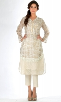 """""""Ivory gold"""" screen print shirt, detailed with applique and lace on the daman; neckline has a chain attached with a small brooch under I; box pleat at the back."""
