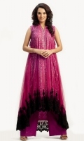 Plum pinkish pure silk screen printed shirt, layered with net; stone and sequins embellished around the gala and heavy lace appliqued on the daman, with matching silk pants and stole.