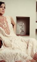 """""""Jaipur jewel"""" a jewellery inspired design around the neckline; embellishment in kundan, resham, maroori and zardozi work. Pure zari silk net shirt with silk lining"""