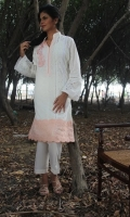 Chikan shirt with lace detailing on the side and embroidered motif on the side and lace appliquéd on the daman.