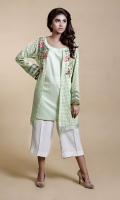 Front open Chikan panel shirt with embroidery on neckline with organza and insertion lace detailing on sleeves