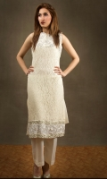 Ivory lace shirt with hand work on the bodice and daman. Chiffon stole.  Silk trousers.