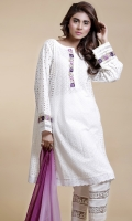 Chikan panel shirt with embroidery on neckline and sleeves with organza and insertion lace detailing.
